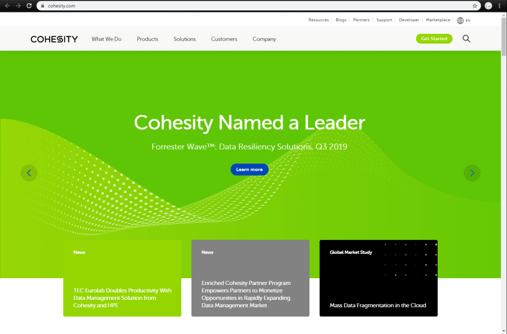 Cohesity front page