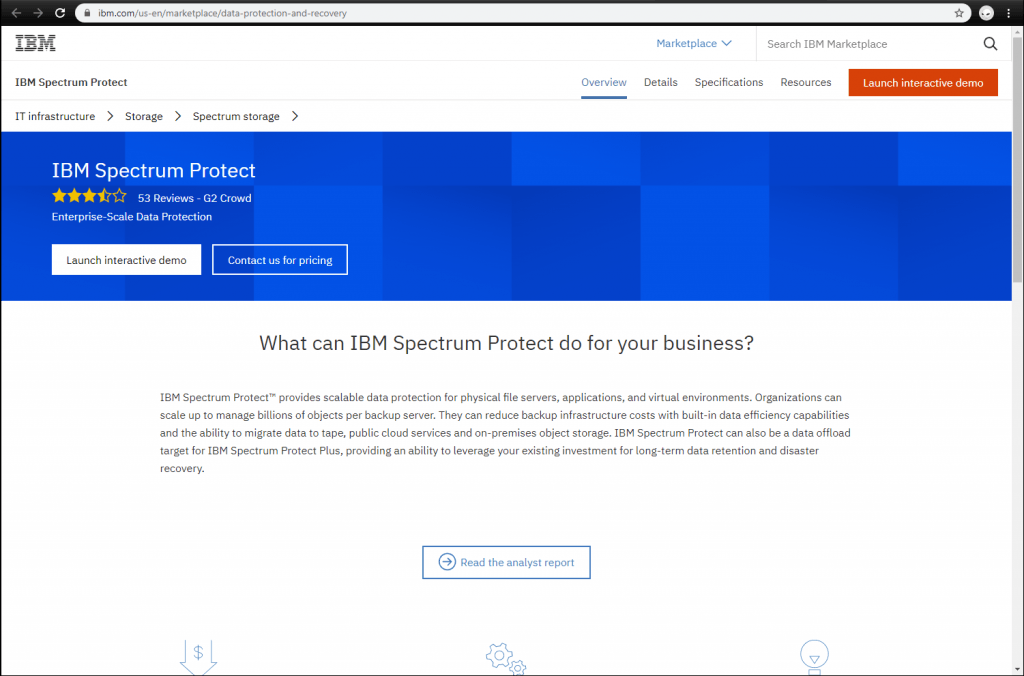 IBM Spectrum Protect front page