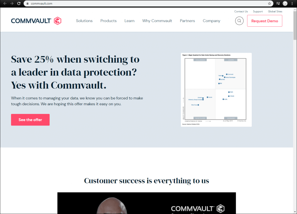 Commvault front page